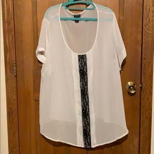 Black lace white blouse